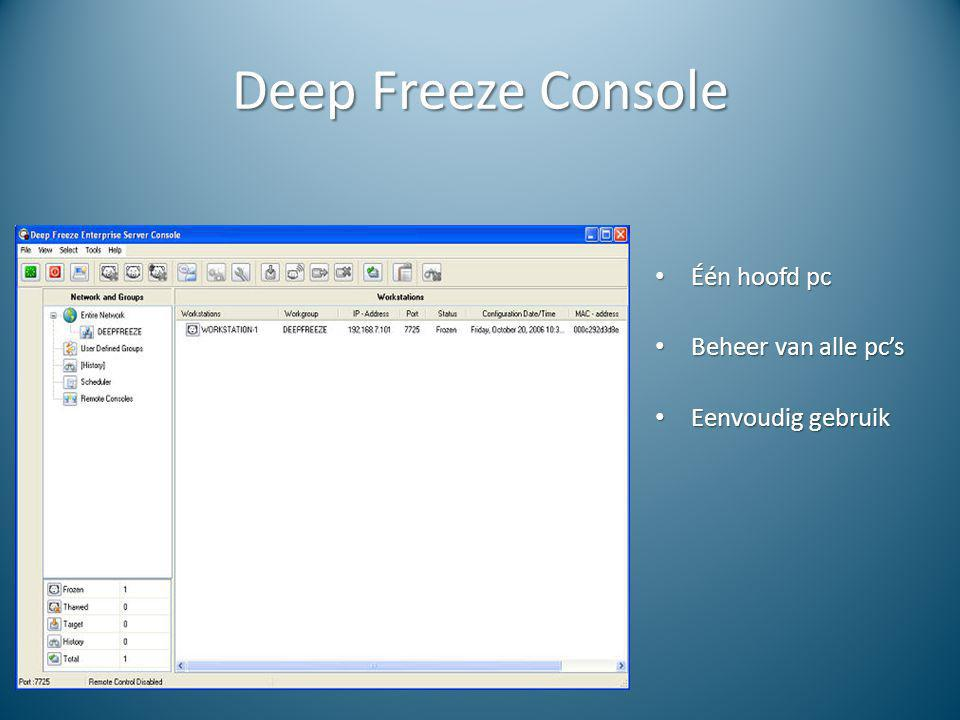Deep Freeze Console Één hoofd pc Beheer van alle pc's