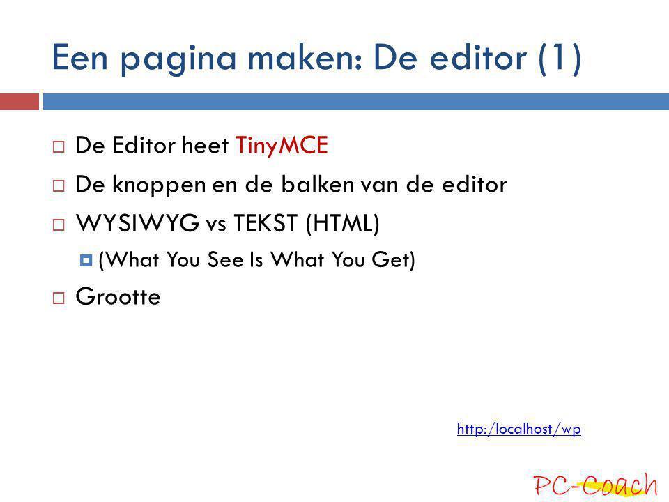 Een pagina maken: De editor (1)