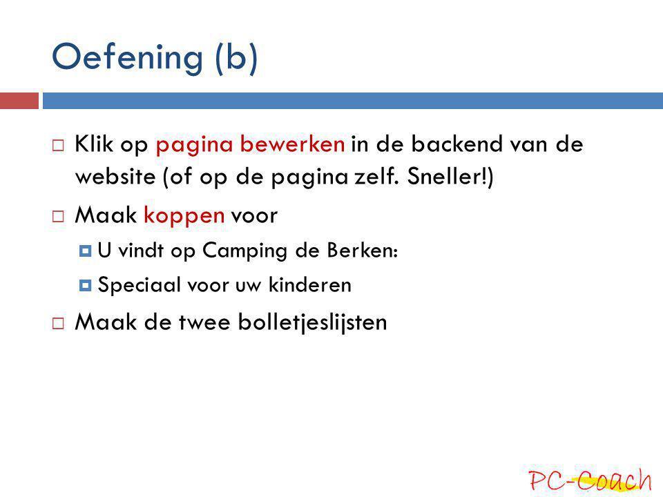 Oefening (b) Klik op pagina bewerken in de backend van de website (of op de pagina zelf. Sneller!)