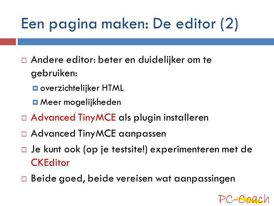 Een pagina maken: De editor (2)