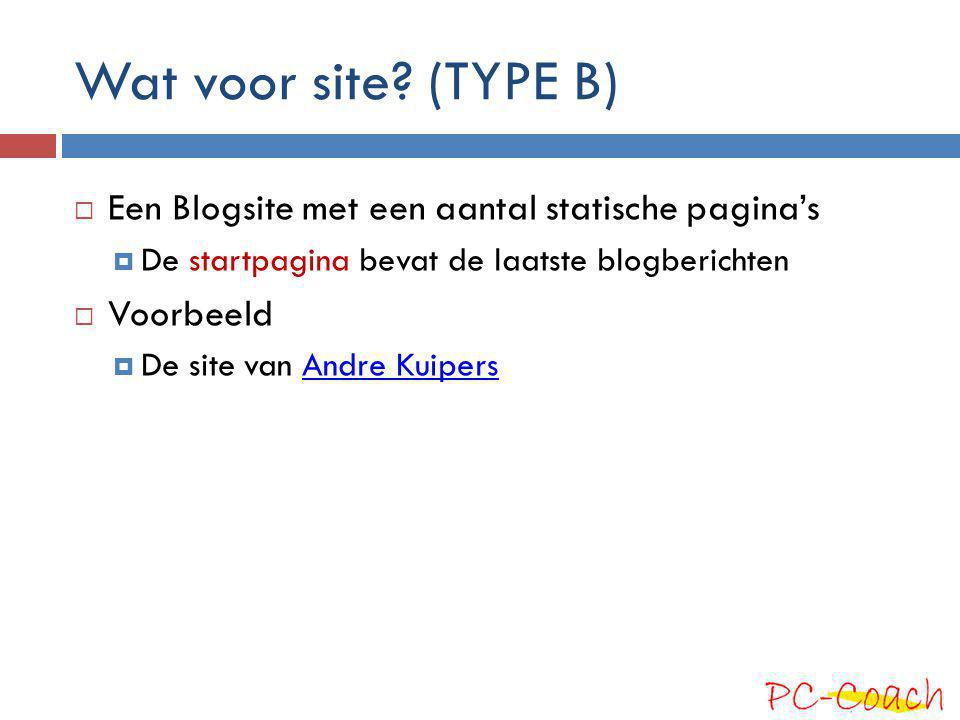 Wat voor site (TYPE B) Een Blogsite met een aantal statische pagina's
