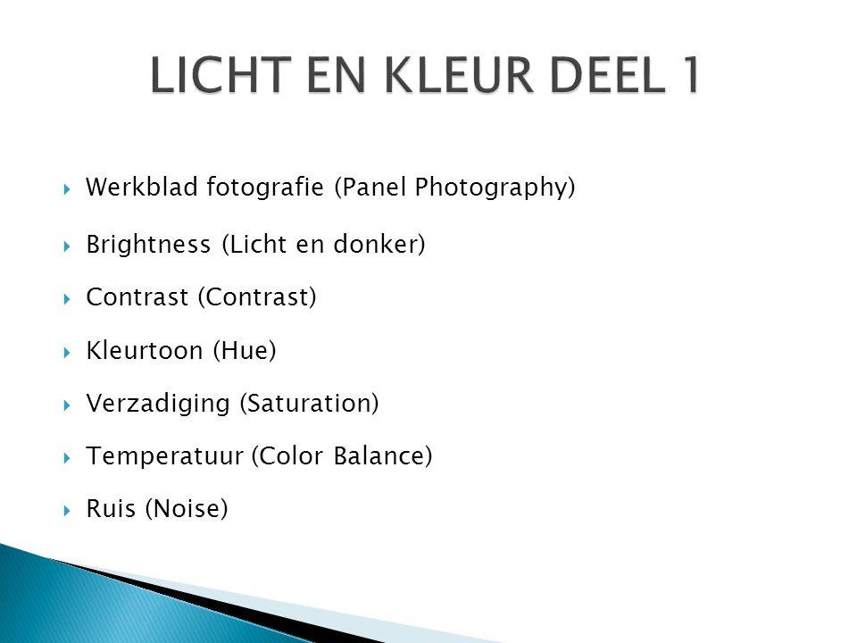 LICHT EN KLEUR DEEL 1 Werkblad fotografie (Panel Photography)