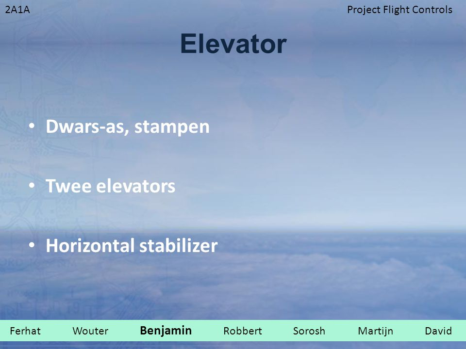 Elevator Dwars-as, stampen Twee elevators Horizontal stabilizer