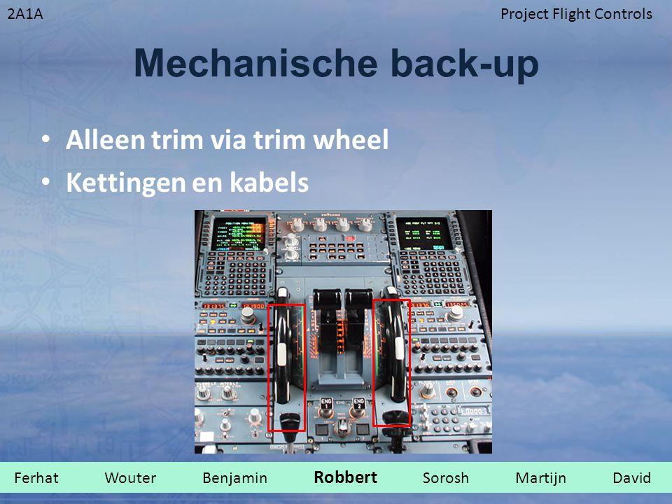 Mechanische back-up Alleen trim via trim wheel Kettingen en kabels