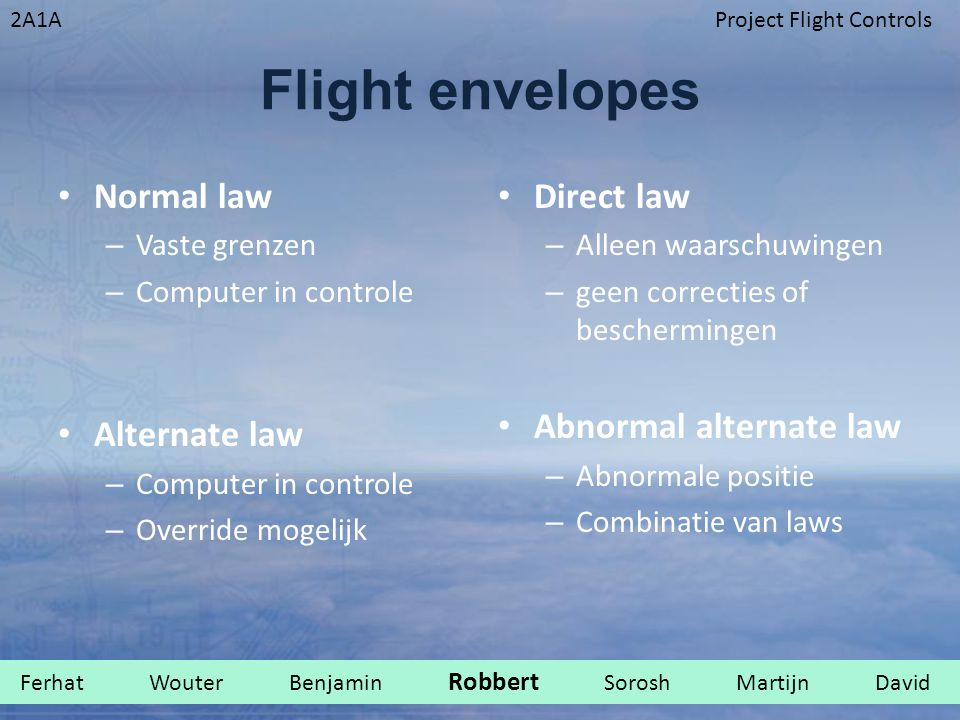 Flight envelopes Normal law Alternate law Direct law