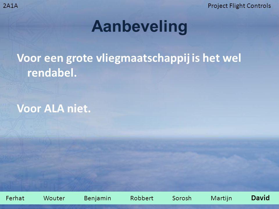 Aanbeveling Voor een grote vliegmaatschappij is het wel rendabel. Voor ALA niet.