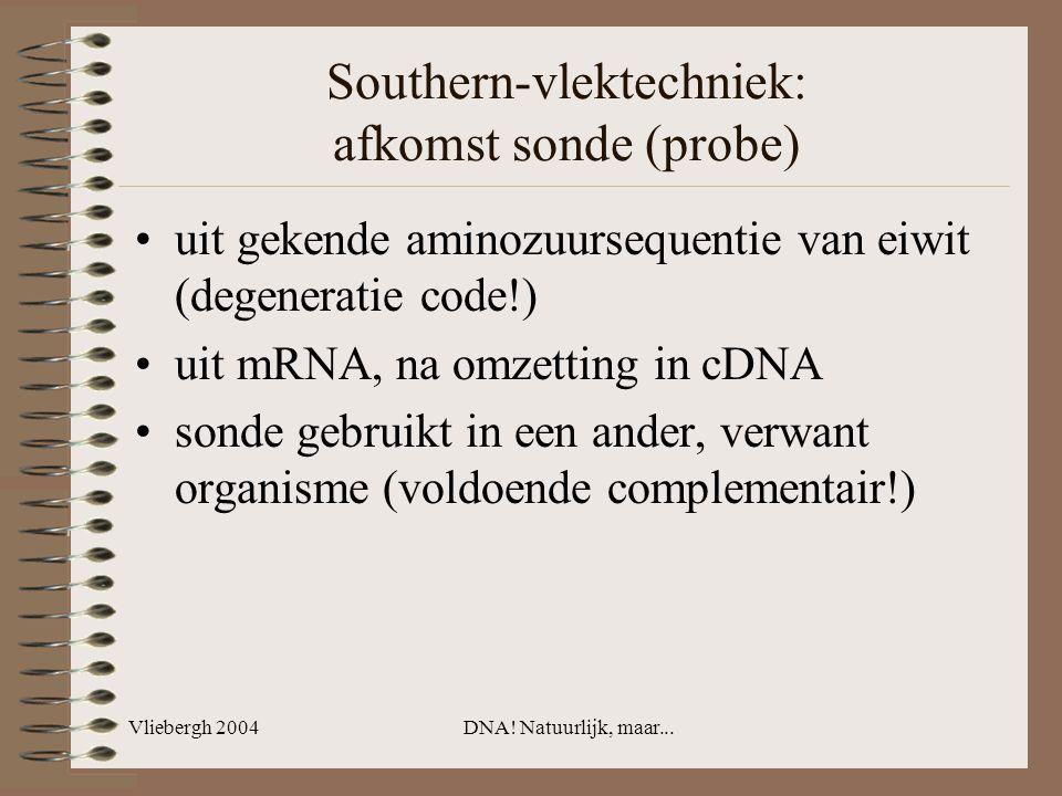 Southern-vlektechniek: afkomst sonde (probe)