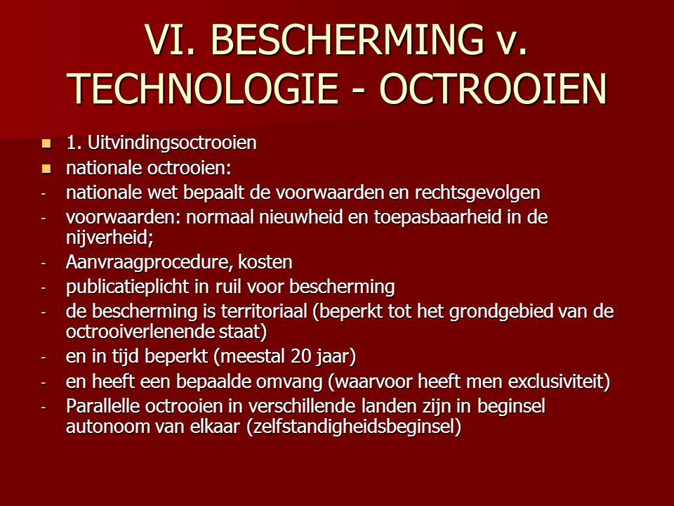 VI. BESCHERMING v. TECHNOLOGIE - OCTROOIEN