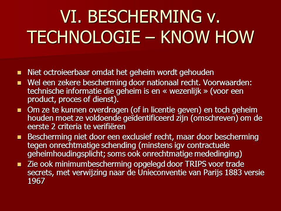 VI. BESCHERMING v. TECHNOLOGIE – KNOW HOW
