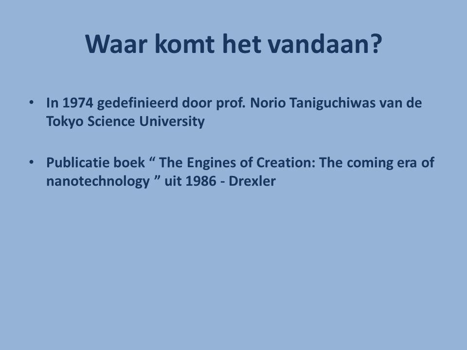 Waar komt het vandaan In 1974 gedefinieerd door prof. Norio Taniguchiwas van de Tokyo Science University.