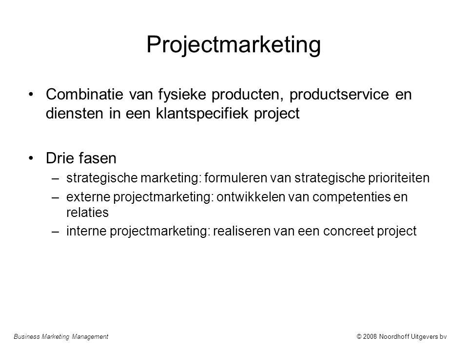 Projectmarketing Combinatie van fysieke producten, productservice en diensten in een klantspecifiek project.