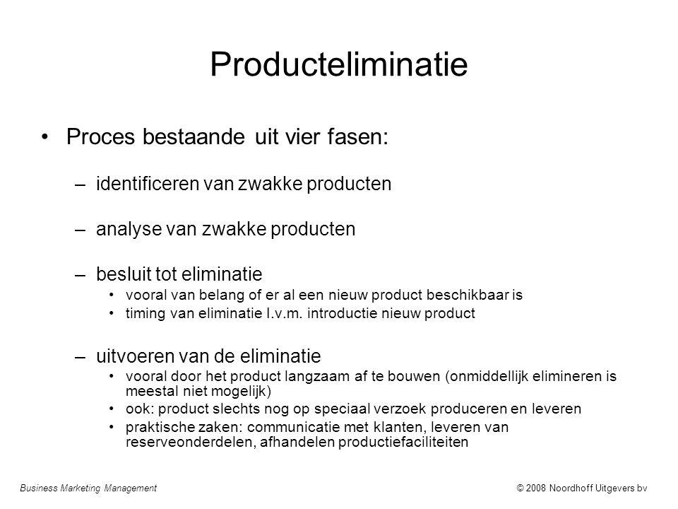 Producteliminatie Proces bestaande uit vier fasen: