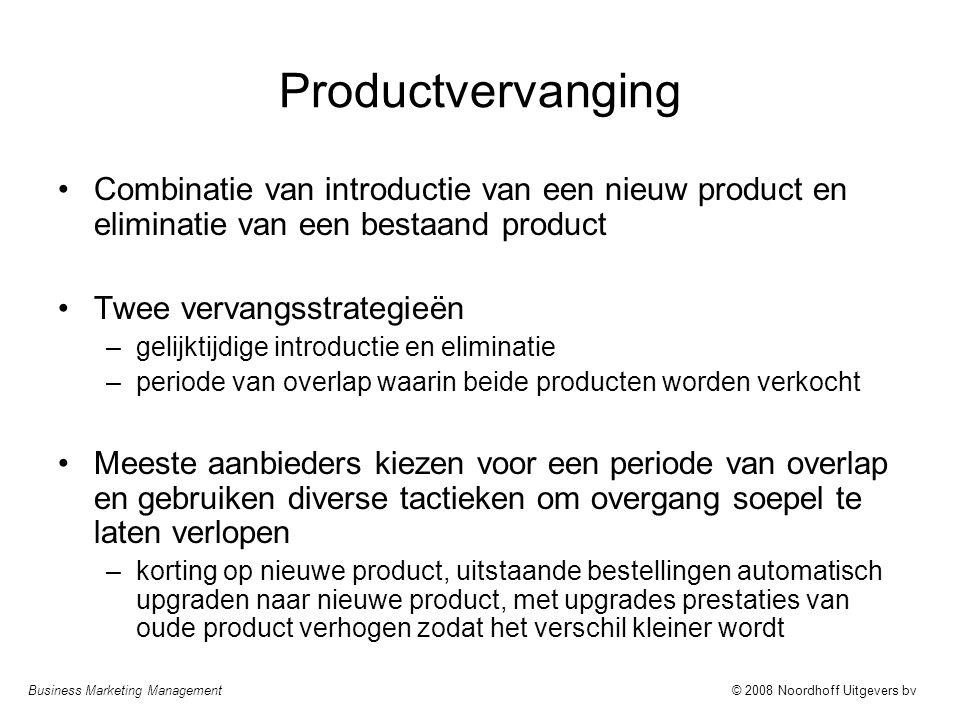 Productvervanging Combinatie van introductie van een nieuw product en eliminatie van een bestaand product.
