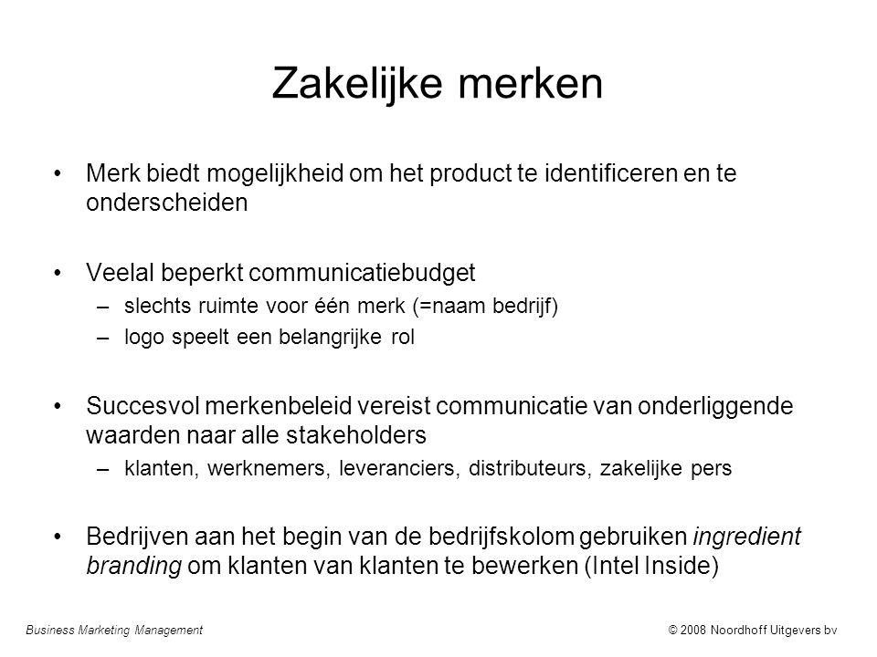 Zakelijke merken Merk biedt mogelijkheid om het product te identificeren en te onderscheiden. Veelal beperkt communicatiebudget.