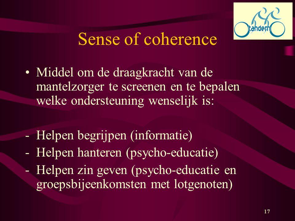 Sense of coherence Middel om de draagkracht van de mantelzorger te screenen en te bepalen welke ondersteuning wenselijk is: