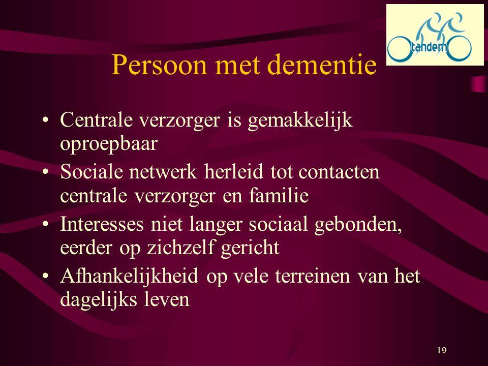 Persoon met dementie Centrale verzorger is gemakkelijk oproepbaar