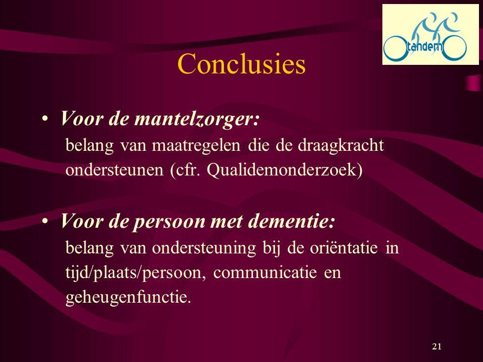 Conclusies Voor de mantelzorger: Voor de persoon met dementie: