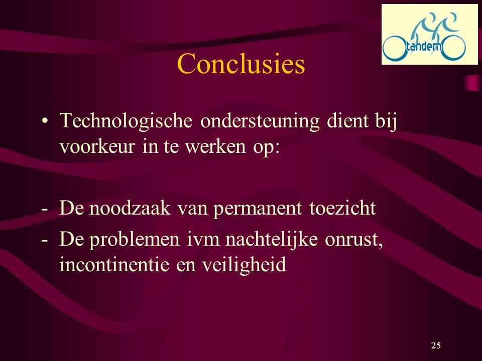 Conclusies Technologische ondersteuning dient bij voorkeur in te werken op: De noodzaak van permanent toezicht.