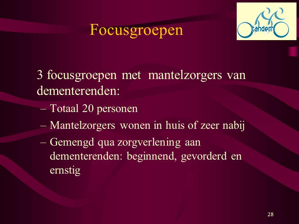 Focusgroepen 3 focusgroepen met mantelzorgers van dementerenden: