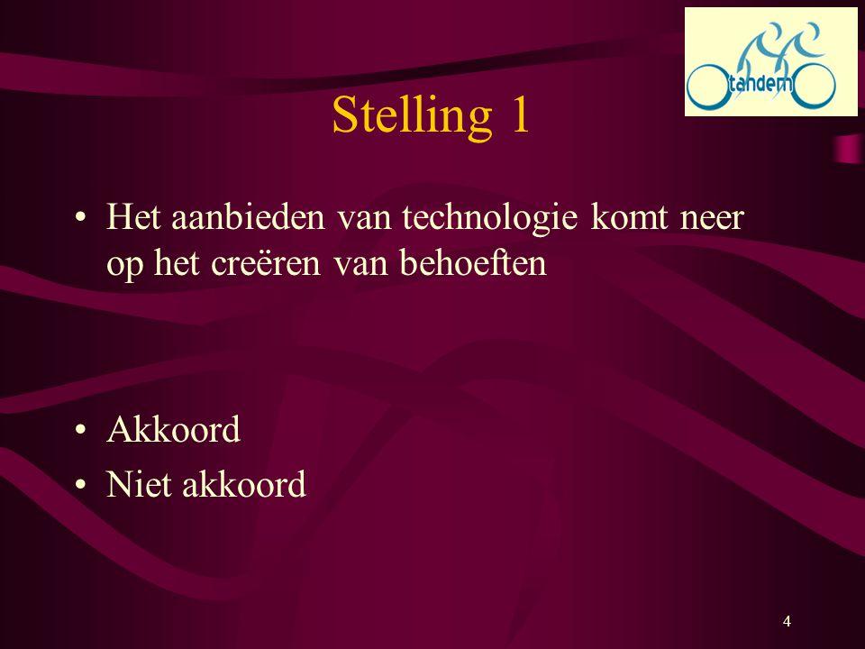 Stelling 1 Het aanbieden van technologie komt neer op het creëren van behoeften.