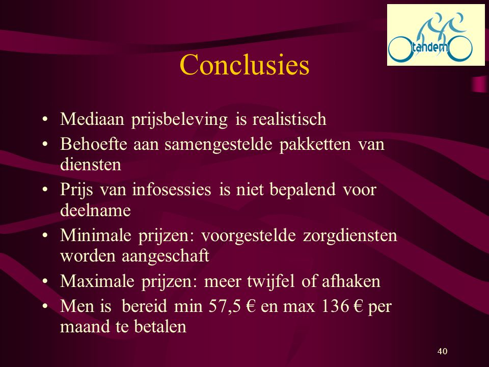 Conclusies Mediaan prijsbeleving is realistisch