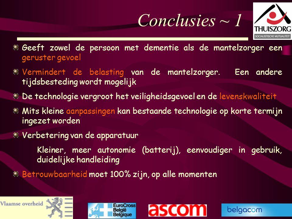 Conclusies ~ 1 Geeft zowel de persoon met dementie als de mantelzorger een geruster gevoel.