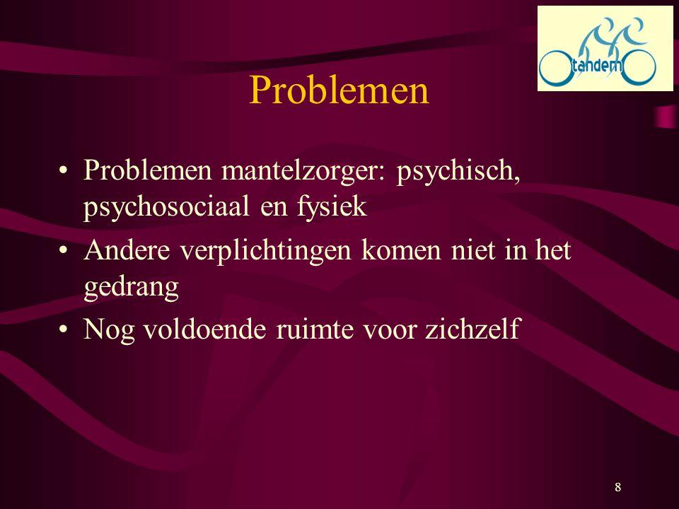 Problemen Problemen mantelzorger: psychisch, psychosociaal en fysiek