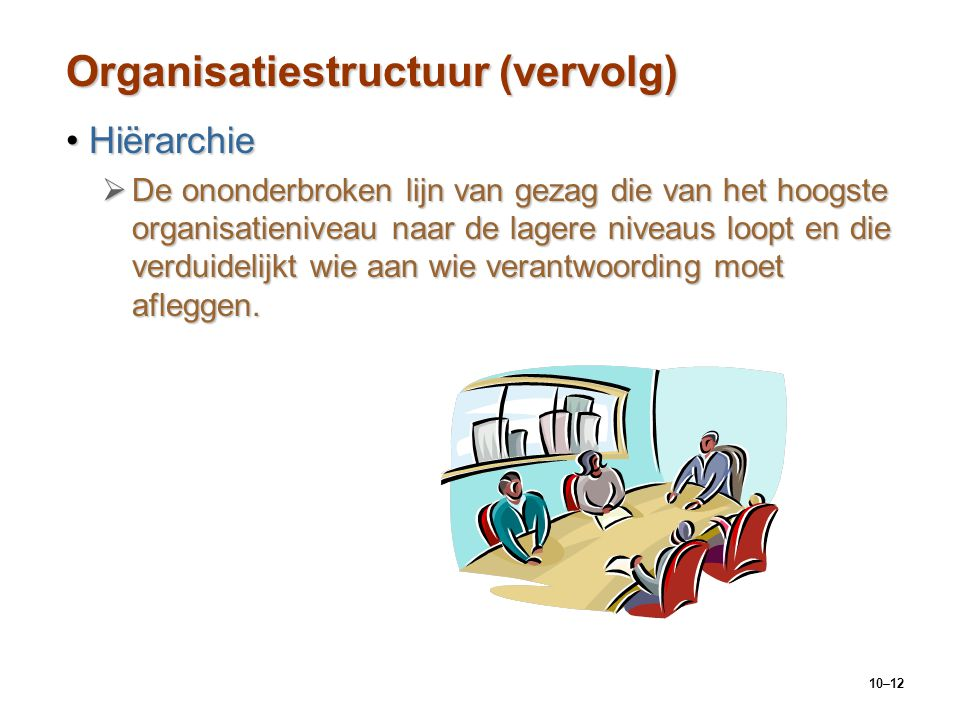 Organisatiestructuur (vervolg)