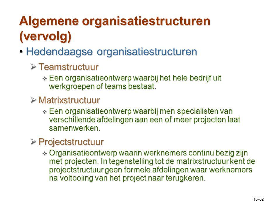 Algemene organisatiestructuren (vervolg)
