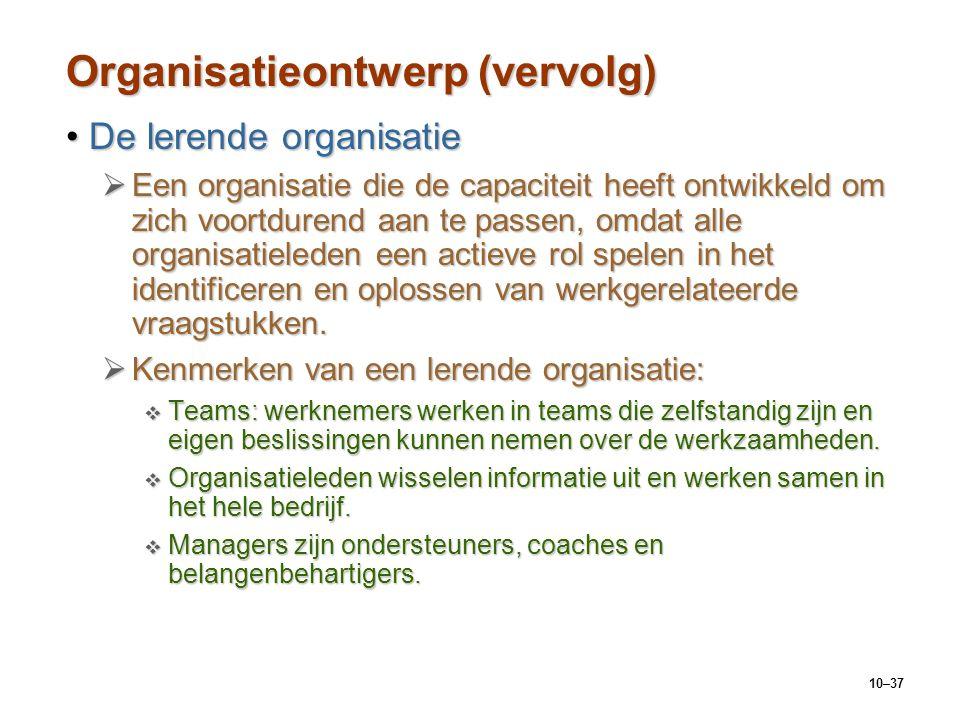 Organisatieontwerp (vervolg)