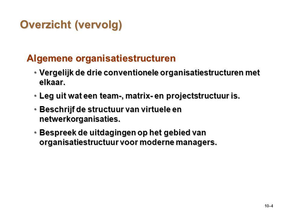 Overzicht (vervolg) Algemene organisatiestructuren