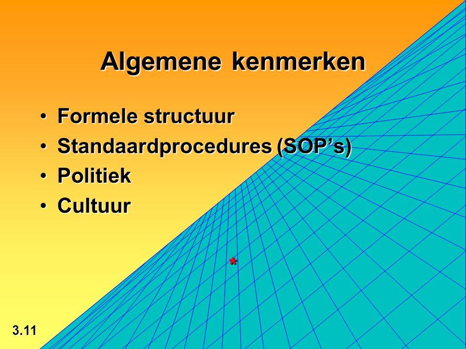Algemene kenmerken Formele structuur Standaardprocedures (SOP's)