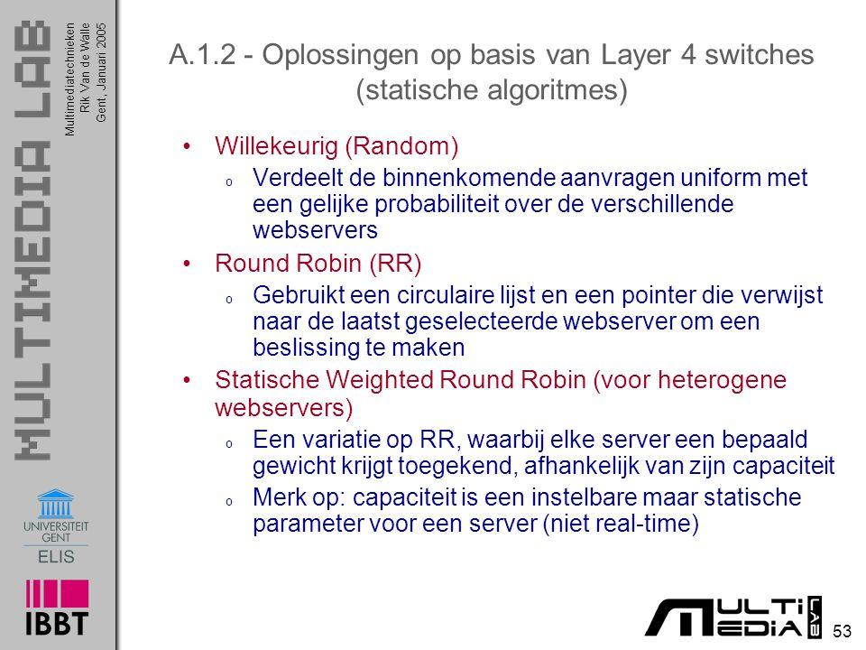 A.1.2 - Oplossingen op basis van Layer 4 switches (statische algoritmes)