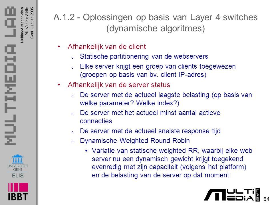 A.1.2 - Oplossingen op basis van Layer 4 switches (dynamische algoritmes)