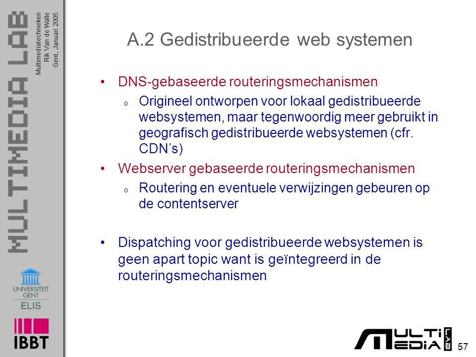 A.2 Gedistribueerde web systemen