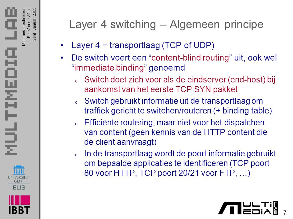 Layer 4 switching – Algemeen principe