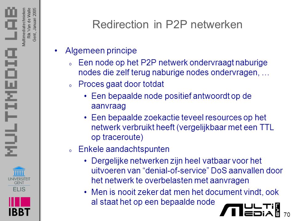 Redirection in P2P netwerken