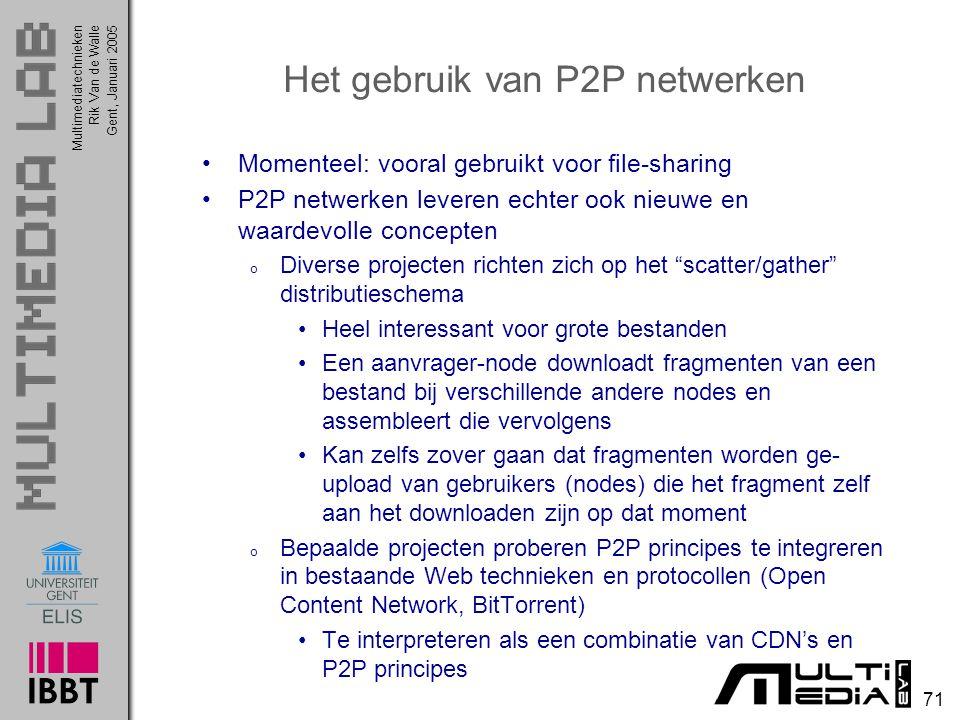 Het gebruik van P2P netwerken