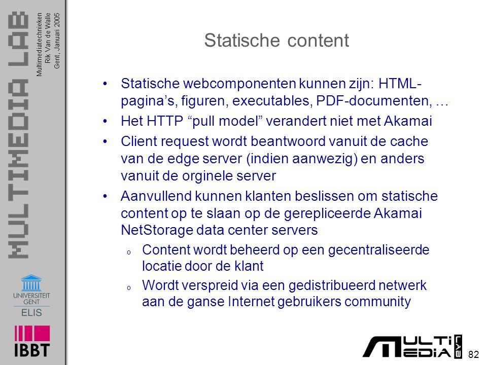 Statische content Statische webcomponenten kunnen zijn: HTML-pagina's, figuren, executables, PDF-documenten, …