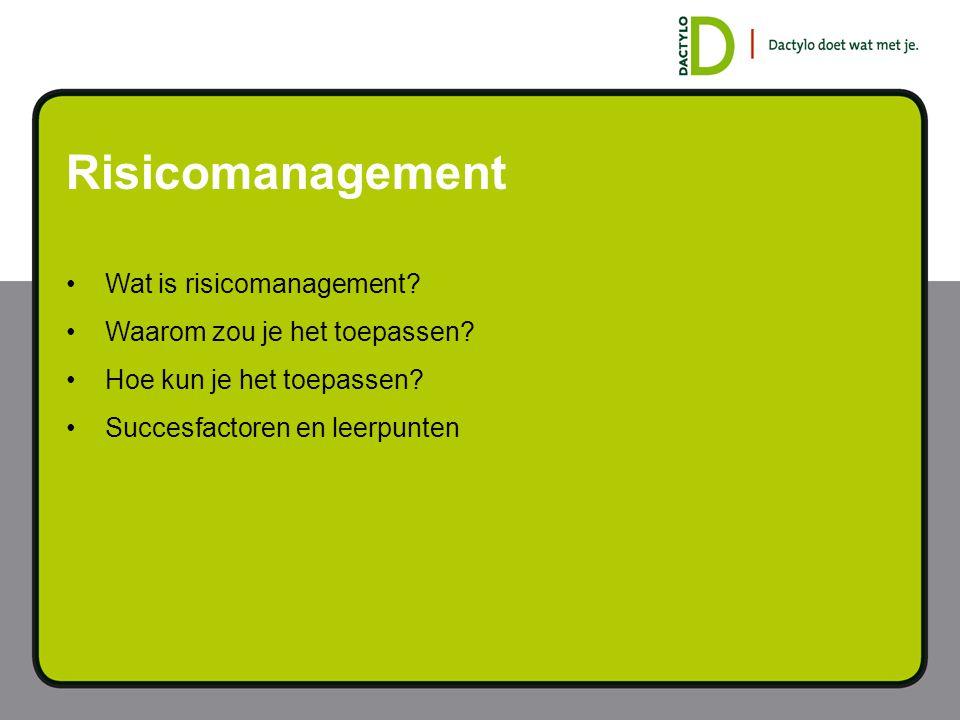 Risicomanagement Wat is risicomanagement Waarom zou je het toepassen