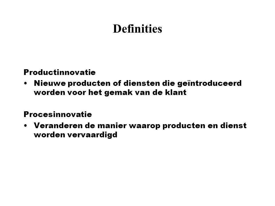 Definities Productinnovatie