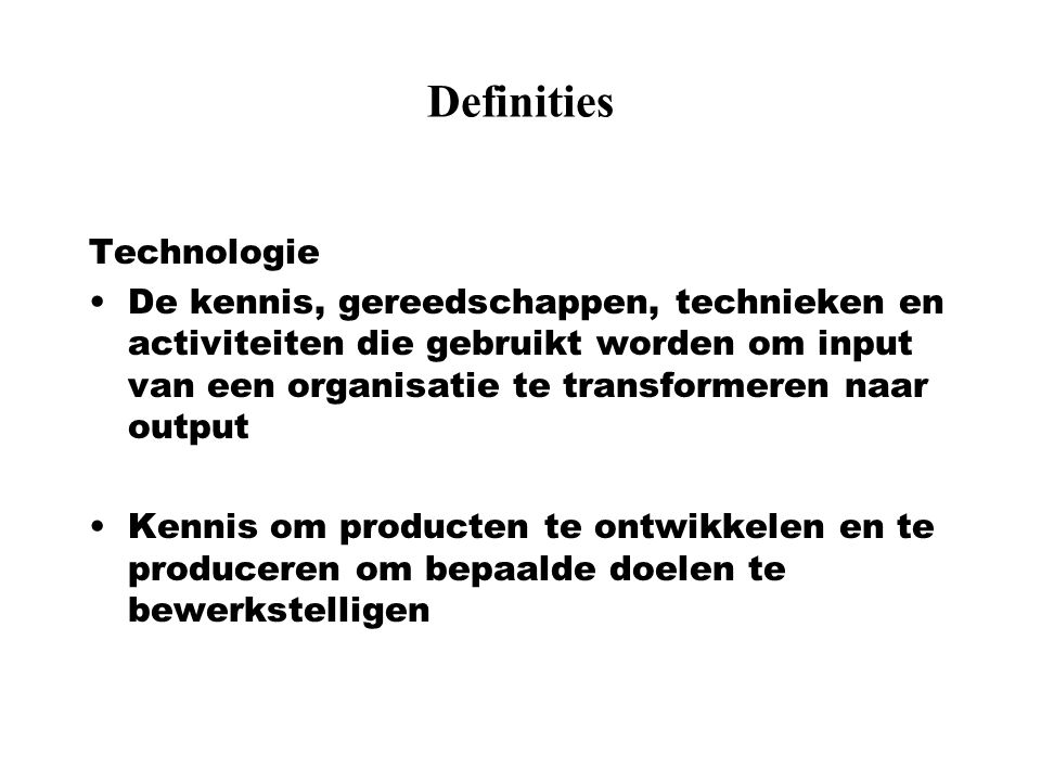 Definities Technologie