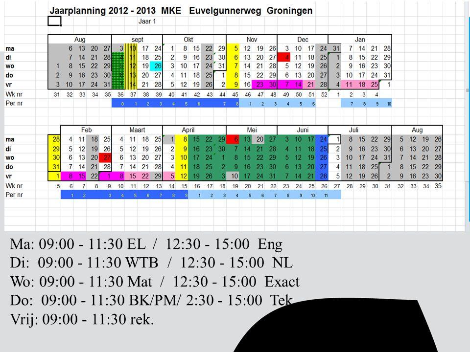 Ma: 09:00 - 11:30 EL / 12:30 - 15:00 Eng Di: 09:00 - 11:30 WTB / 12:30 - 15:00 NL. Wo: 09:00 - 11:30 Mat / 12:30 - 15:00 Exact.