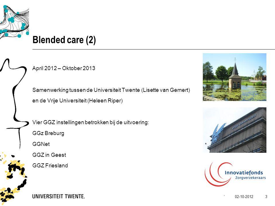 Blended care (2) April 2012 – Oktober 2013