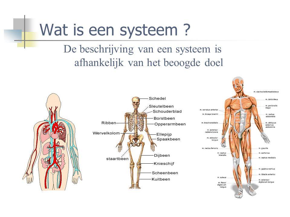 Wat is een systeem De beschrijving van een systeem is afhankelijk van het beoogde doel