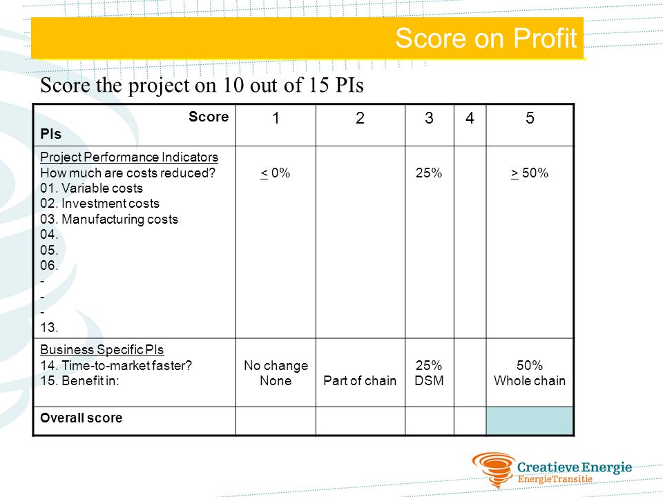Score on Profit Score on Profit Score the project on 10 out of 15 PIs