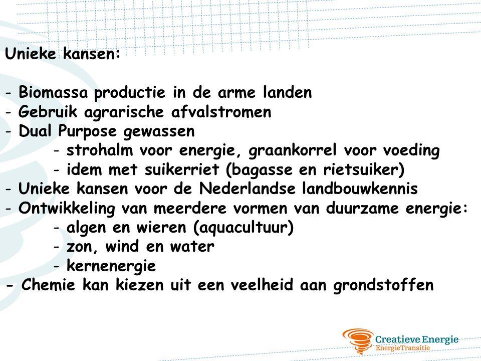Unieke kansen: Biomassa productie in de arme landen. Gebruik agrarische afvalstromen. Dual Purpose gewassen.