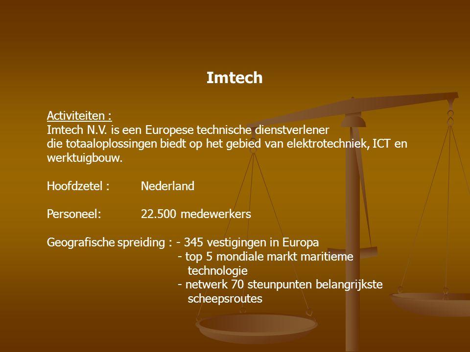 Imtech Activiteiten : Imtech N.V. is een Europese technische dienstverlener.
