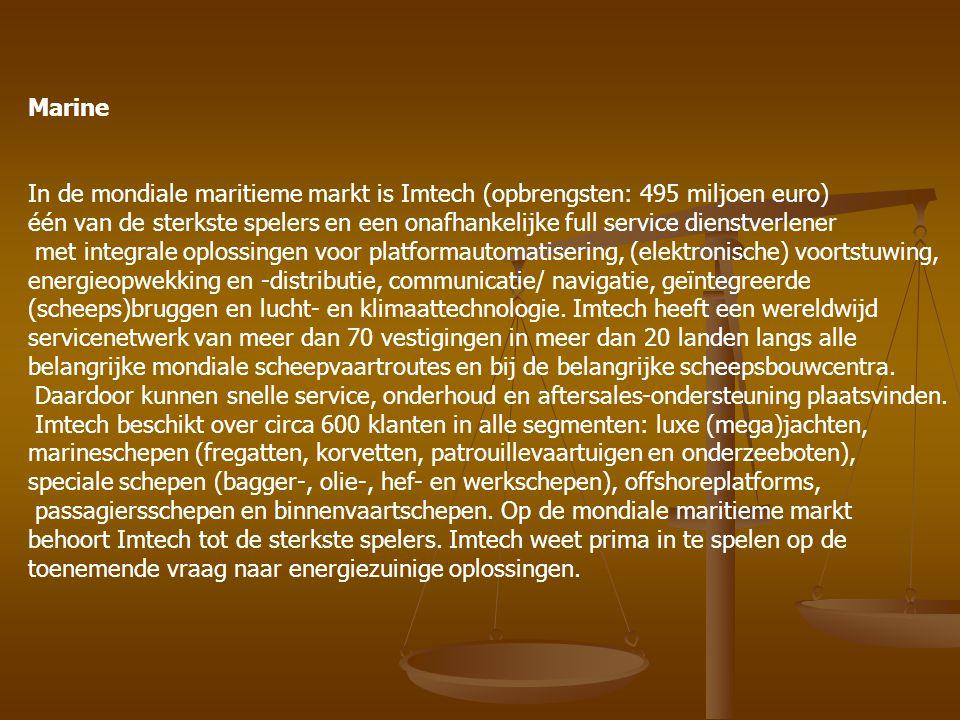 Marine In de mondiale maritieme markt is Imtech (opbrengsten: 495 miljoen euro)