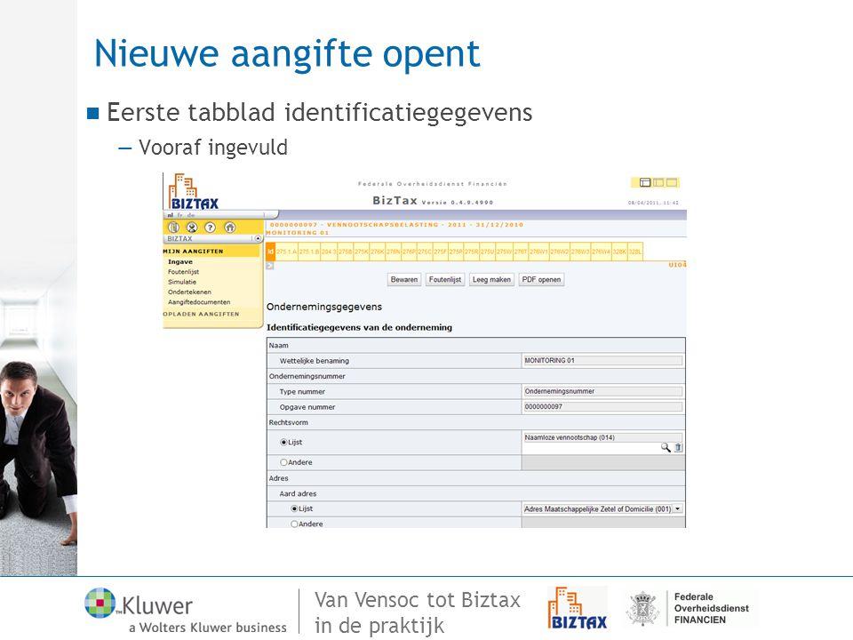 Nieuwe aangifte opent Eerste tabblad identificatiegegevens